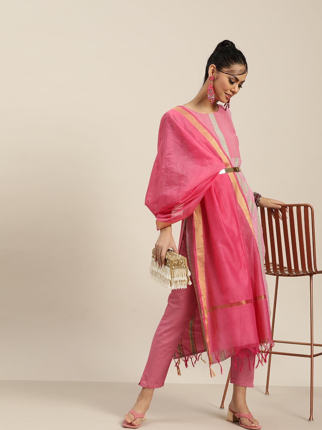 KSUT Pink And Multi Colored Straight Kurta with Pink Trouser