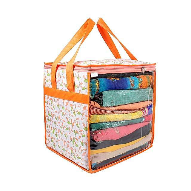 PrettyKrafts XL Saree organizer with handles and transparent front (15 * 12 * 15 In), Multi (F1603_SC_XL_R_Multi)
